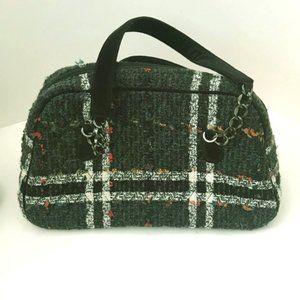 Vera Bradley Gray Tweed Bowler Bag Satchel Tote